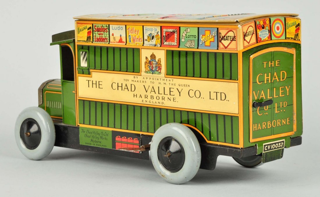 English Litho Wind Up Chad Valley Advertising Van - 2
