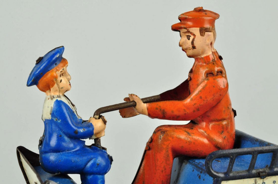 German Lehmann Tin Litho Wind up Naughty Boy Toy. - 5
