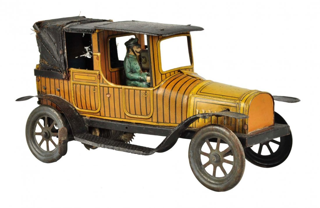 German Tin Litho Wind Up Fisher Taxi Cab.