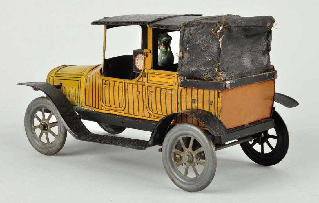 German Tin Litho Wind Up Fisher Taxi Cab. - 2