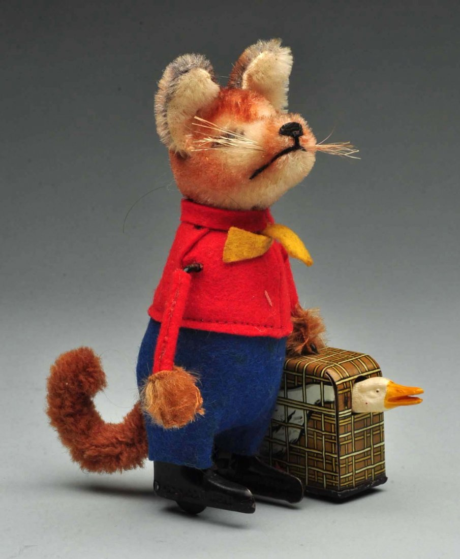 German Schuco Fox Carrying Suitcase w/ Goose.