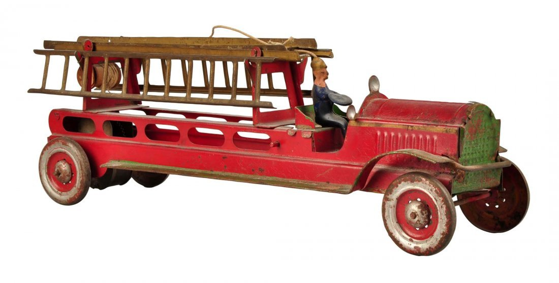 Early Tin Fire Truck With Ladder.