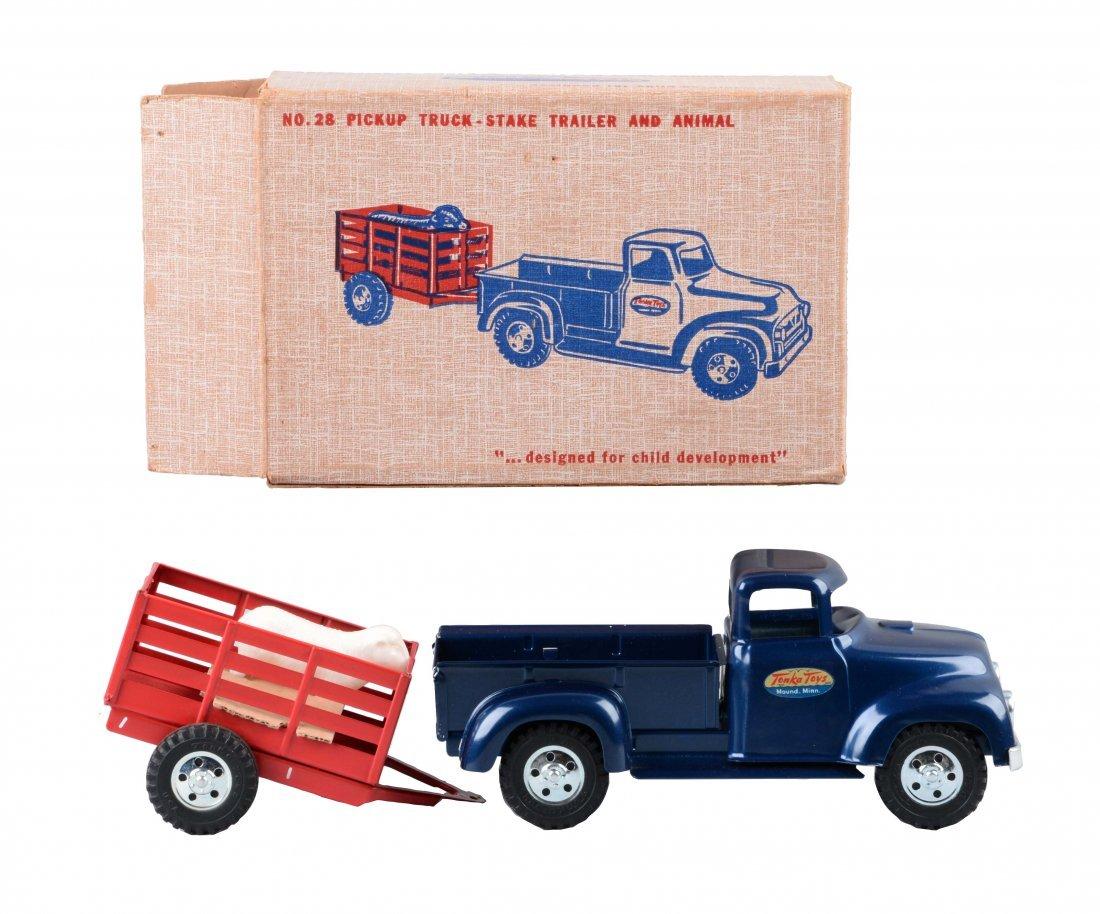 Tonka Pickup Truck w/ Stake Trailer No 28.