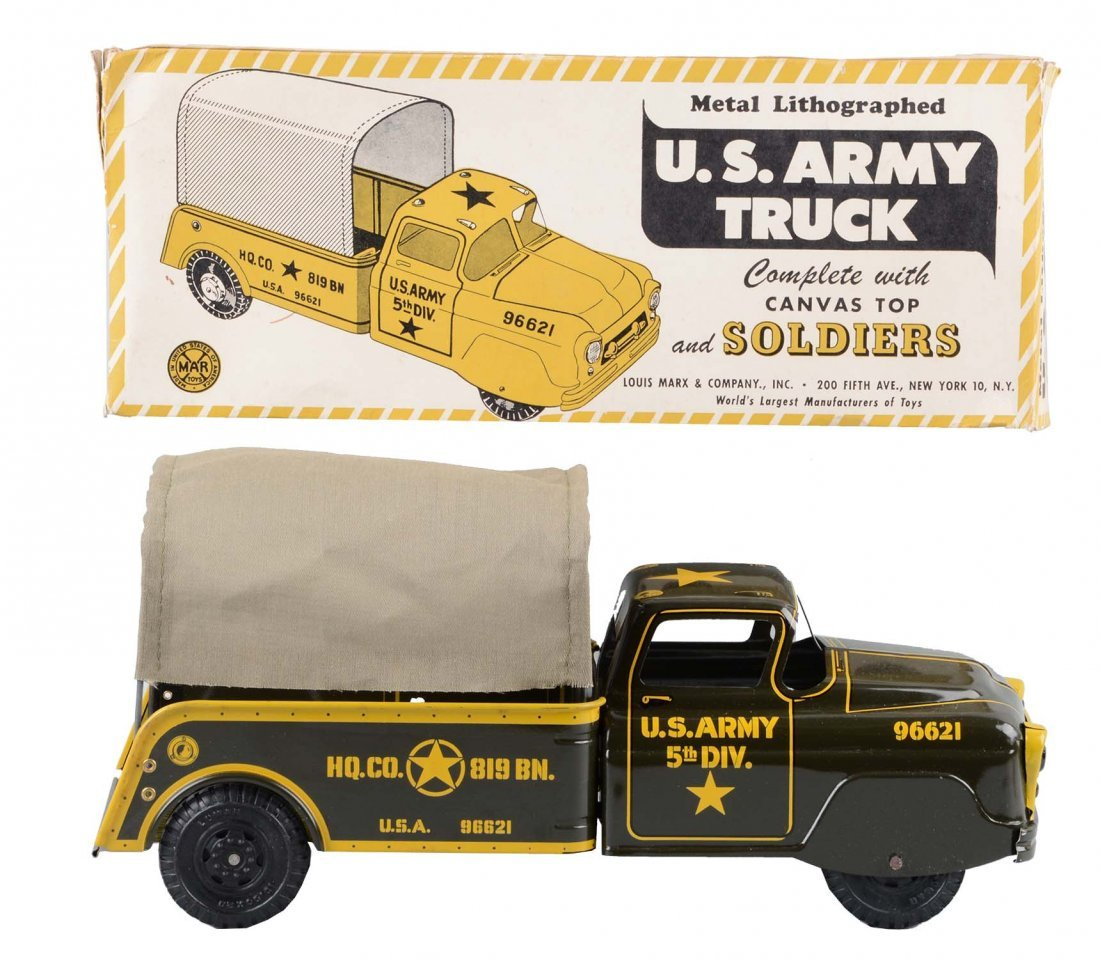 Marx No. Litho Army Truck w/ Soldiers.