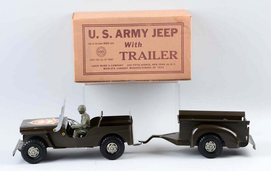 Marx U.S. Army Jeep and Trailer No. 888/246. - 2