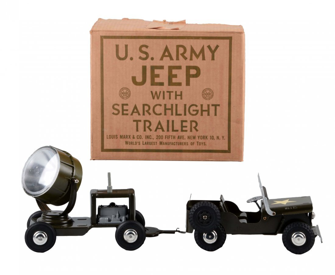 Marx US Army Jeep & Search Light Trailer.