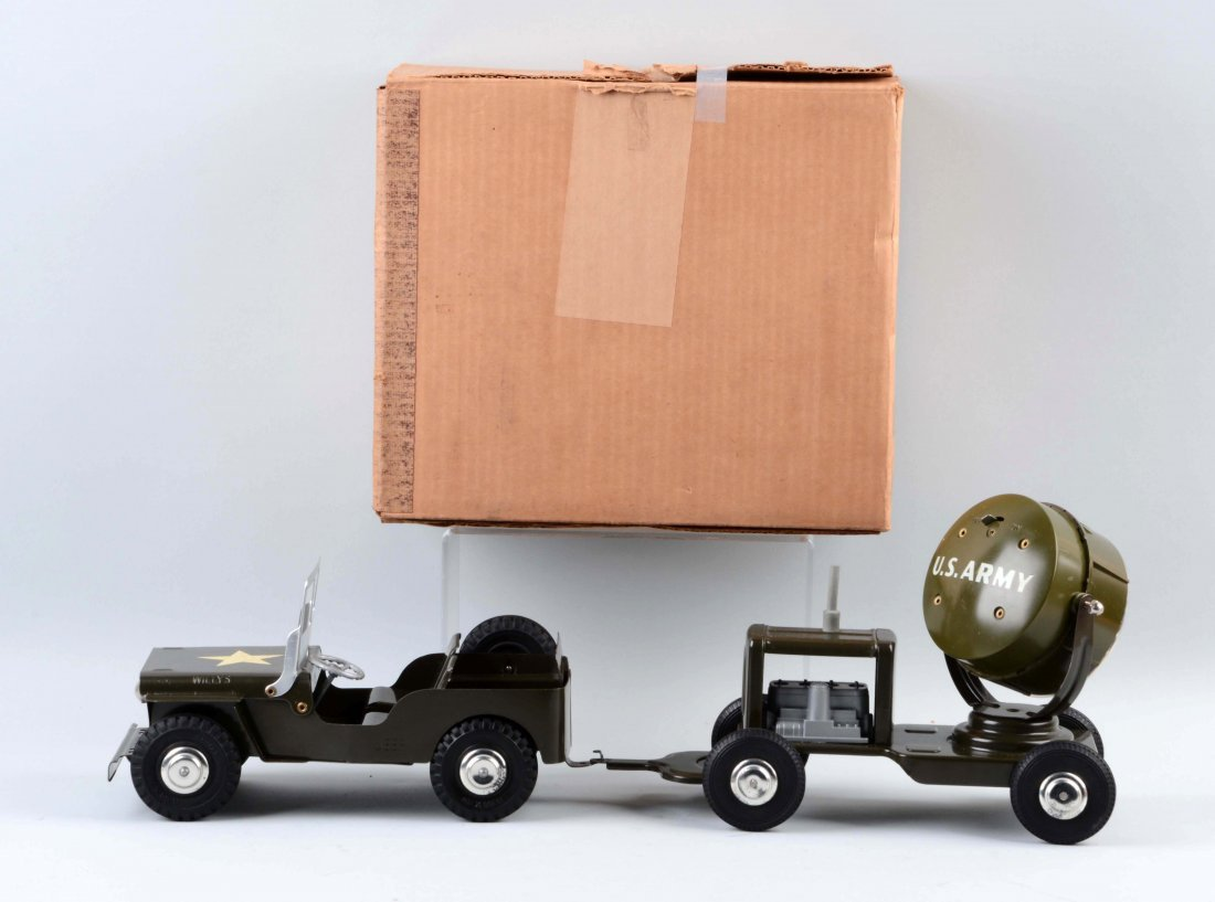 Marx US Army Jeep & Search Light Trailer. - 2