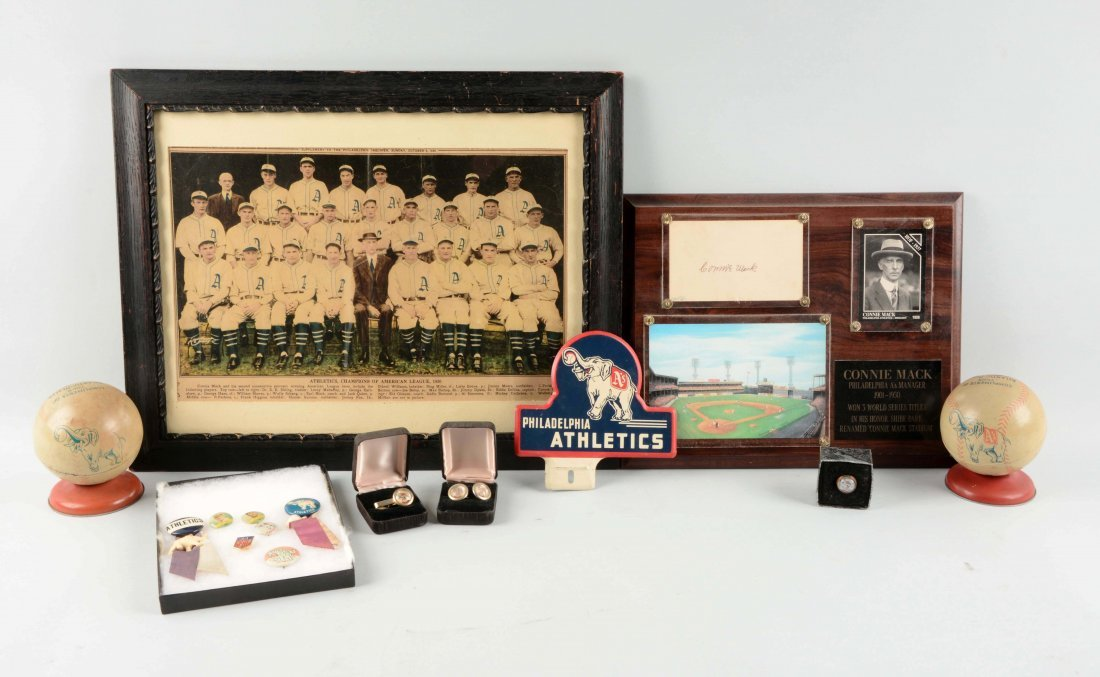 Large Lot Of Period Philadelphia A's Memorabilia.