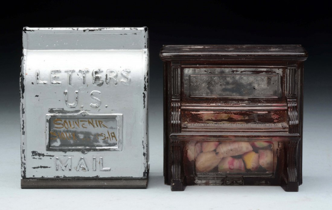 Lot of 2: Piano & Mail Box Candy Containers.