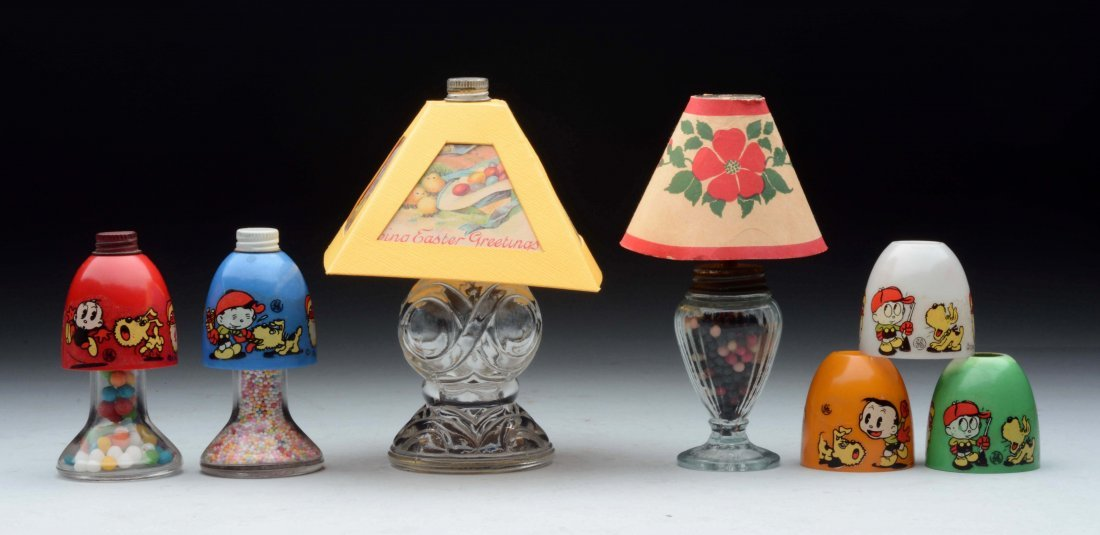 Lot Of 7:  Assorted Lamp & Shade Items Candy