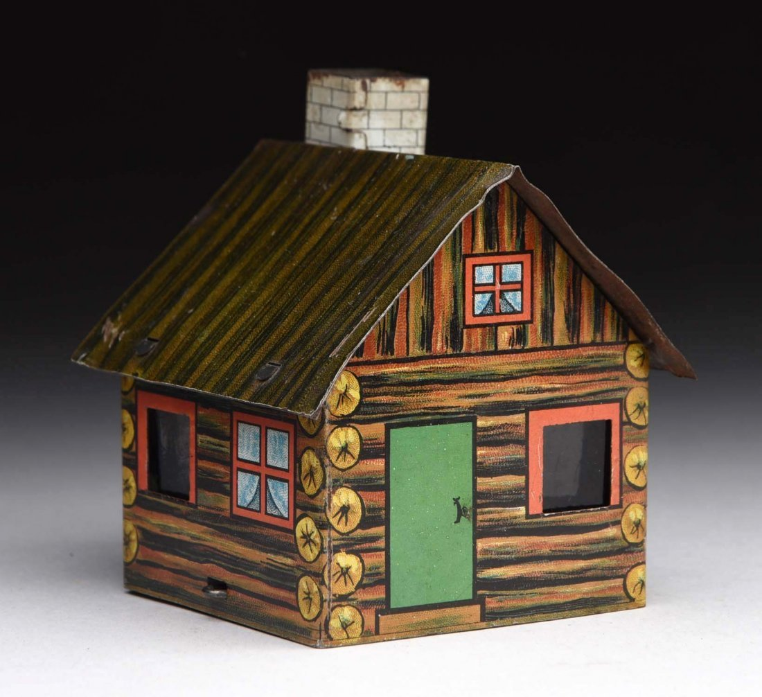 Village Log Cabin Candy Container.
