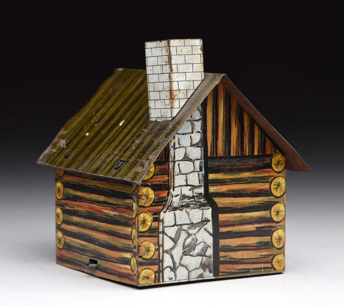 Village Log Cabin Candy Container. - 2