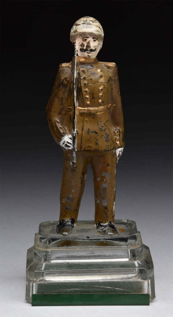Soldier w/ Sword on Mound Glass Candy Container.