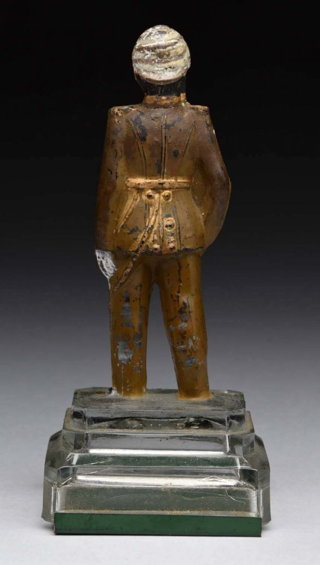 Soldier w/ Sword on Mound Glass Candy Container. - 2