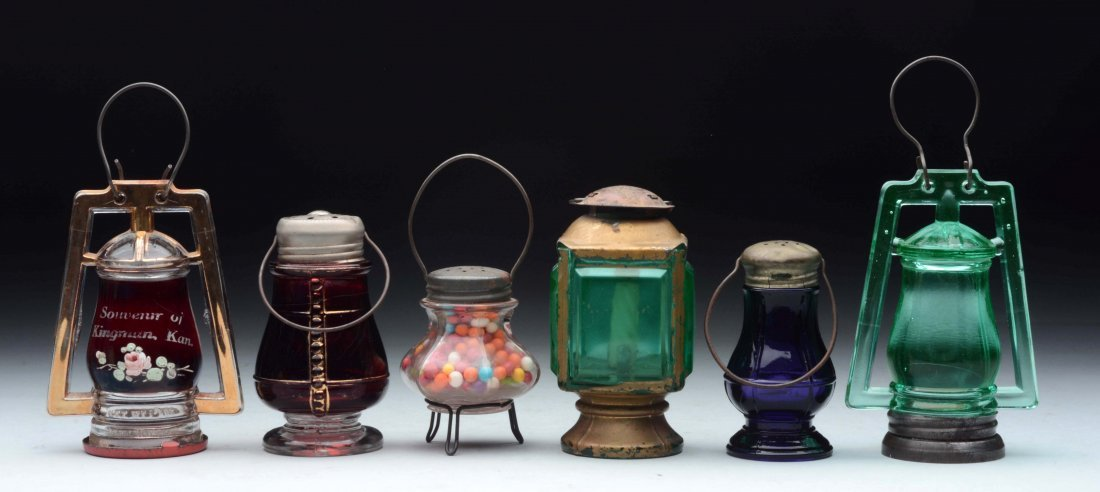 Lot of 6: Glass Lantern Candy Containers.