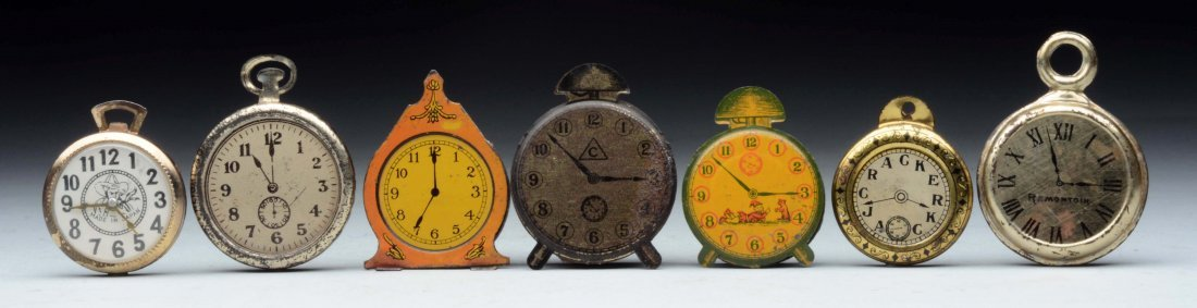 Lot of 7: Tin Pocket Watches & Penny Toys Candy