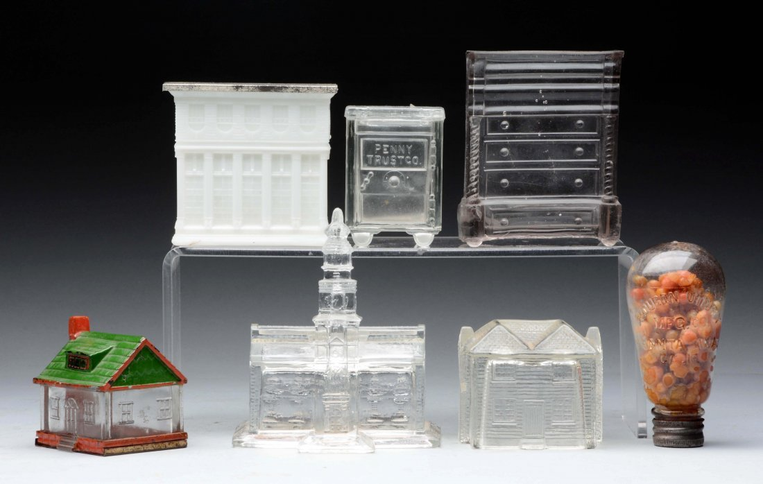 Lot Of 7: Assorted Glass Candy Containers.