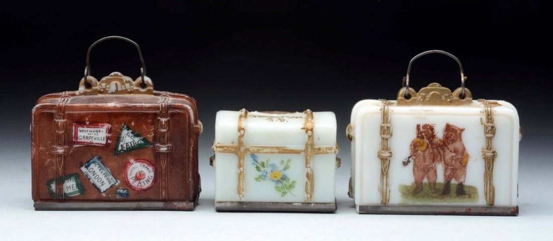 Lot of 3: Milk Glass Suitcase Candy Containers.