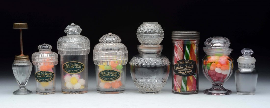 Lot Of 8: Assorted Glass Candy Containers.