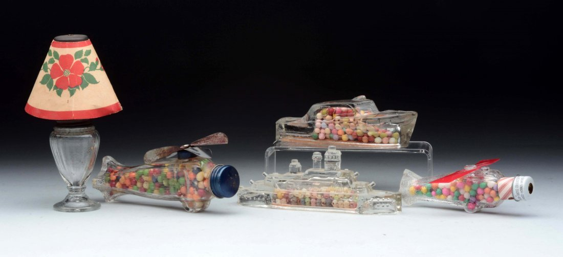 Lot Of 5: Assorted Glass Candy Containers.