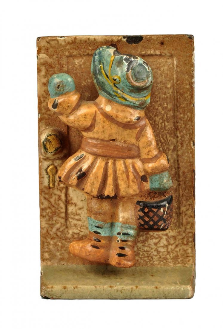 Cast Iron Girl Knocking Doorknocker.
