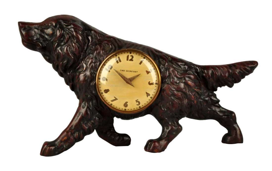 Cast Iron Retriever Dog Clock.