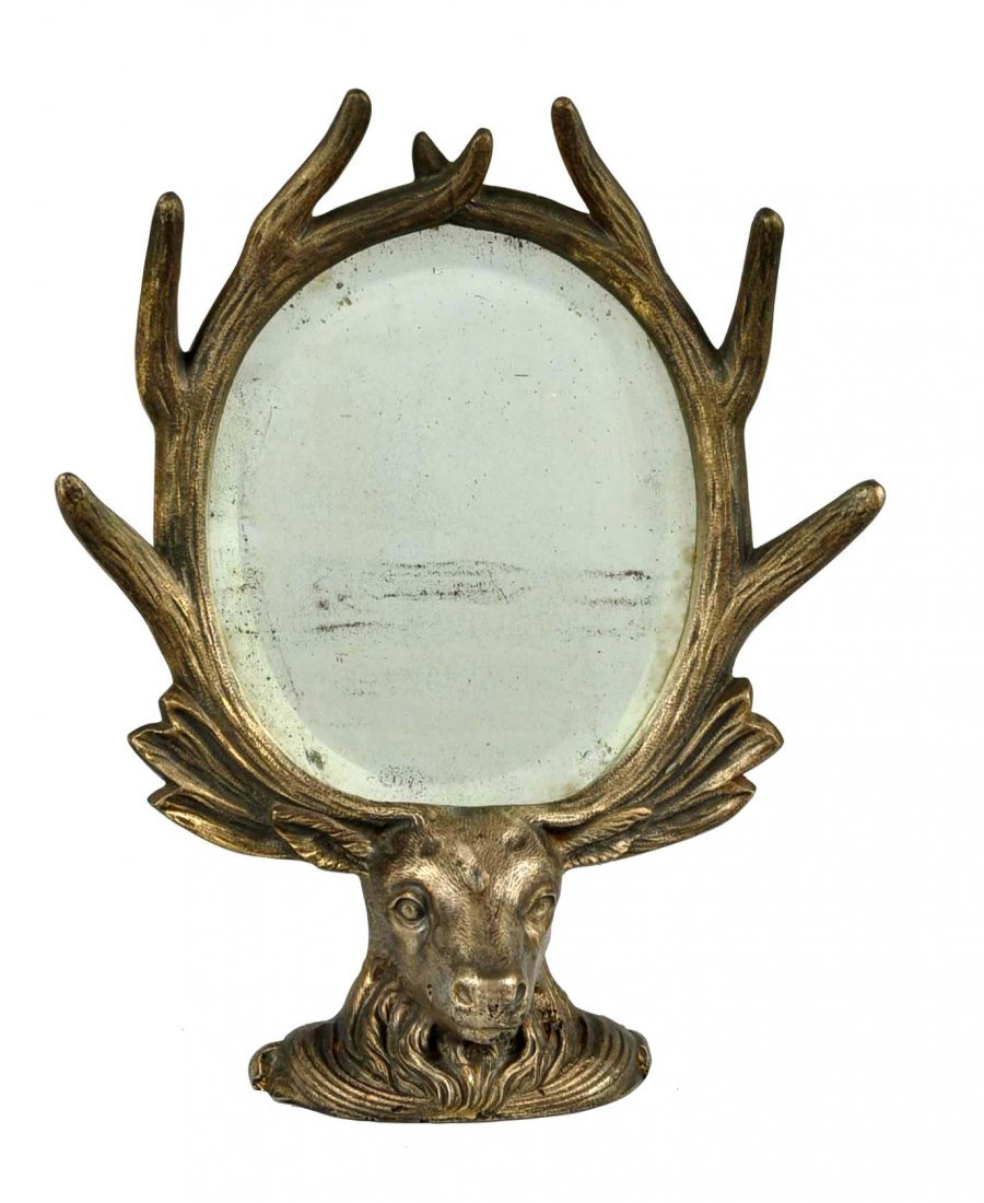 Cast Iron Elk Framed Mirror.