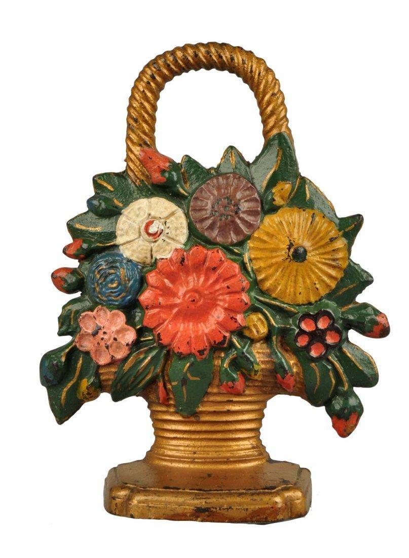 Cast Iron Mixed Deco Flowers in Basket Doorstop.