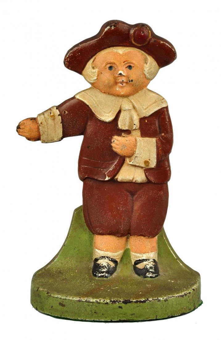 Cast Iron Pilgrim Boy Doorstop.
