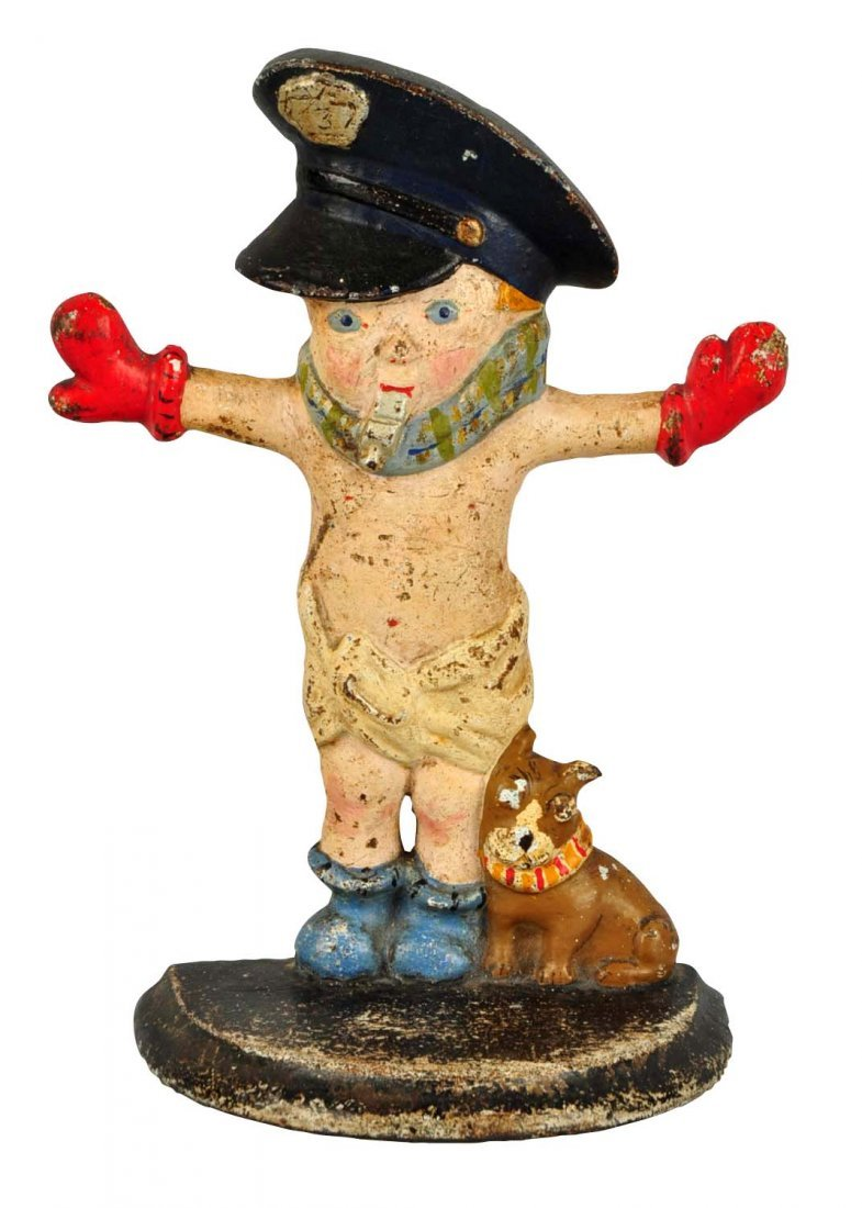 Cast Iron Police Boy Doorstop.