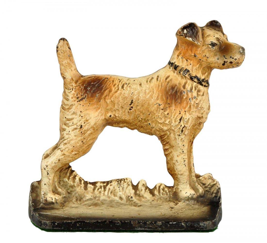 Cast Iron Wirehaired Fox terrier Doorstop.