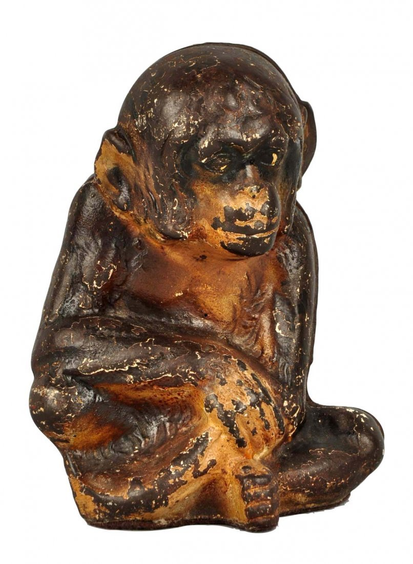 Cast Iron Sitting Monkey Doorstop.