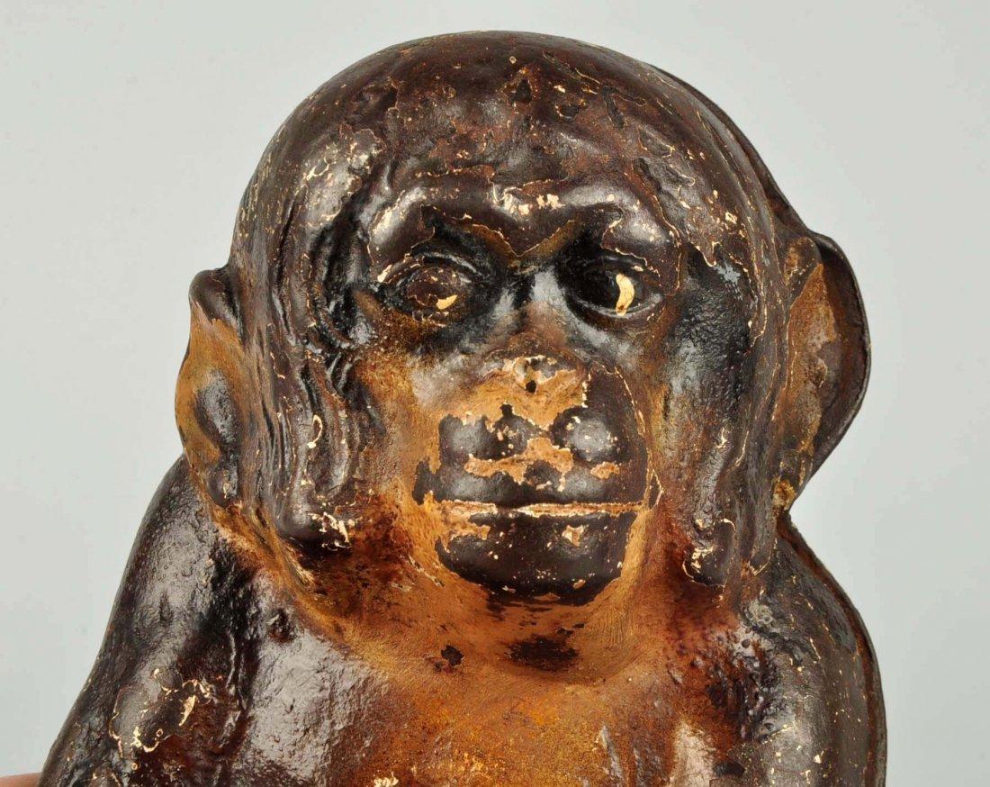 Cast Iron Sitting Monkey Doorstop. - 5