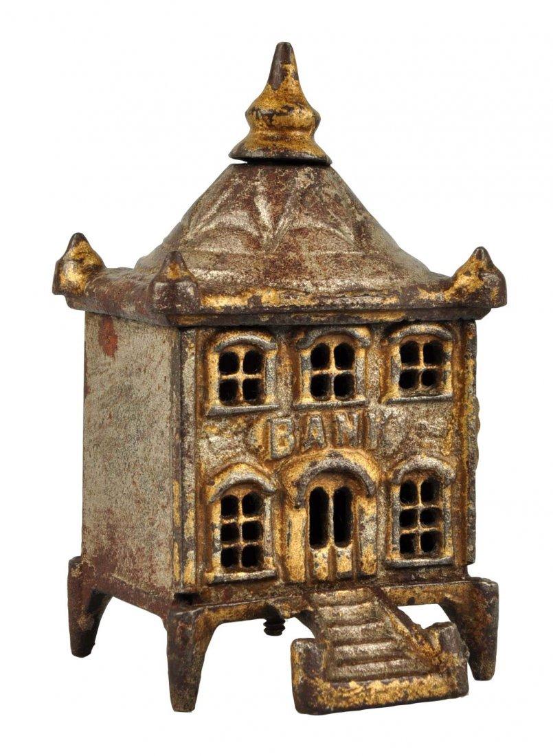 English Pagoda Cast Iron Still Bank.