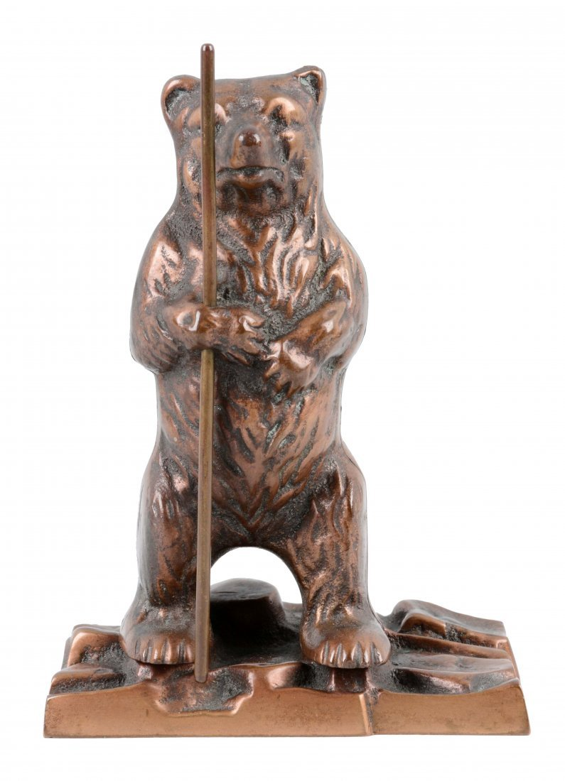 Bear Holding Stick Brass Still Bank.