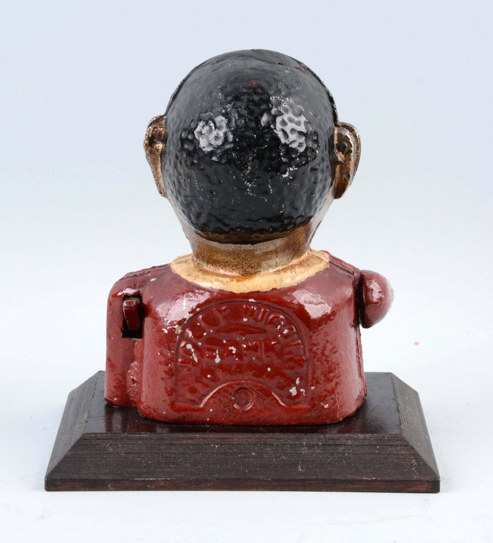 "Jolly ""N"" Mechanical Bank on Wooden Base. - 3"