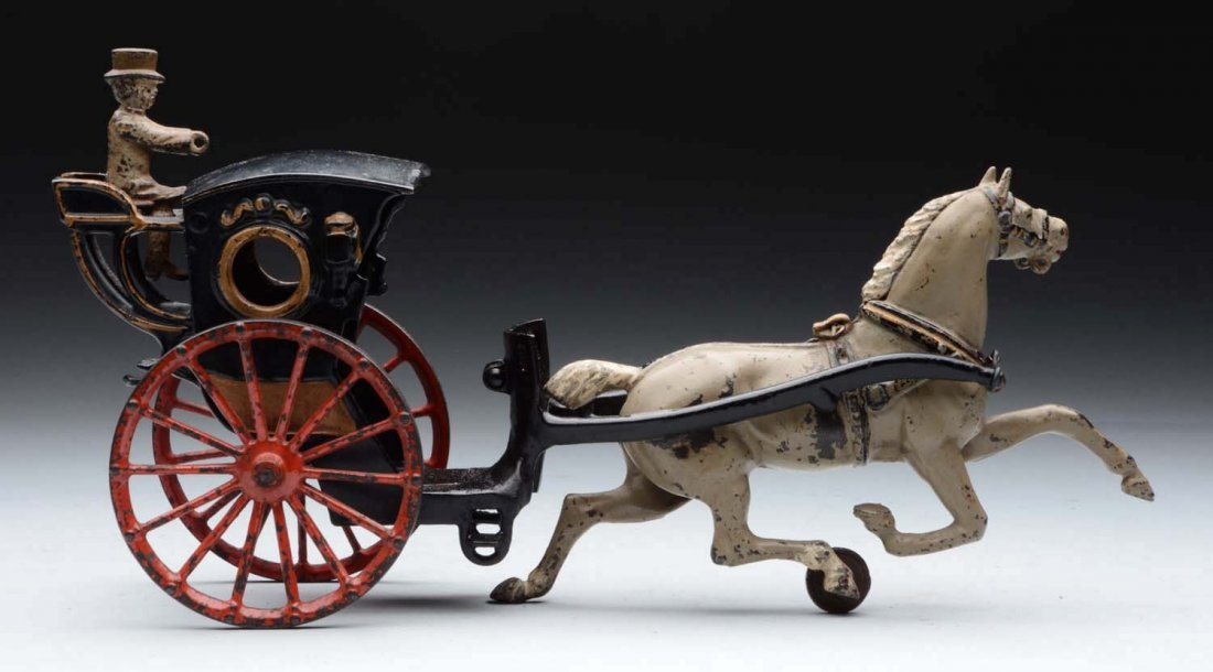 Cast Iron American Made Horse Drawn Hanson Cab.
