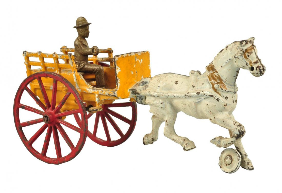 American Made Cast Iron Horse Drawn Panel Wagon.
