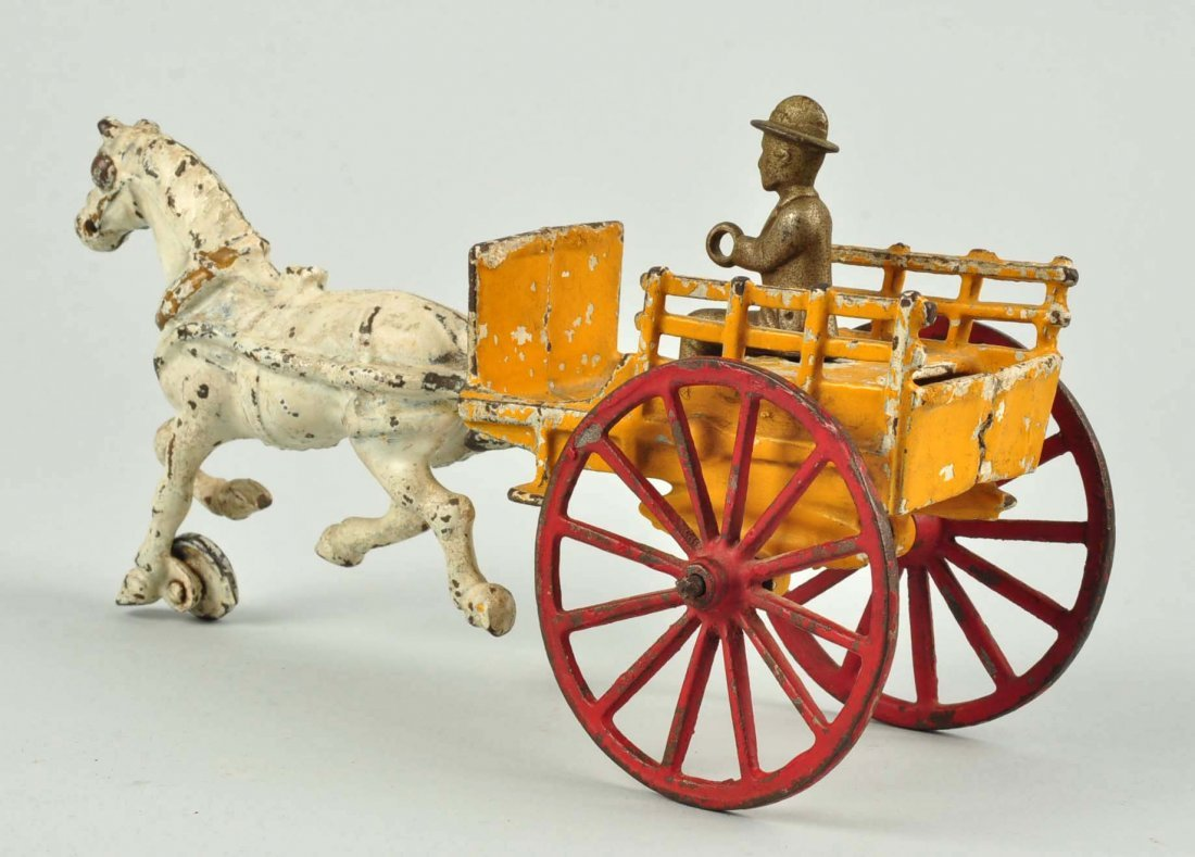 American Made Cast Iron Horse Drawn Panel Wagon. - 2