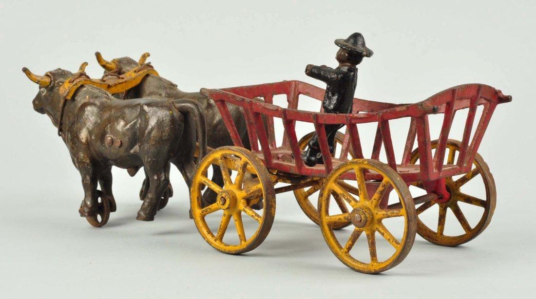 Kenton Cast Iron Oxen Drawn Cart Toy. - 2