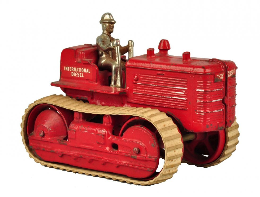 Arcade International Diesel Red Cast Iron Tractor.