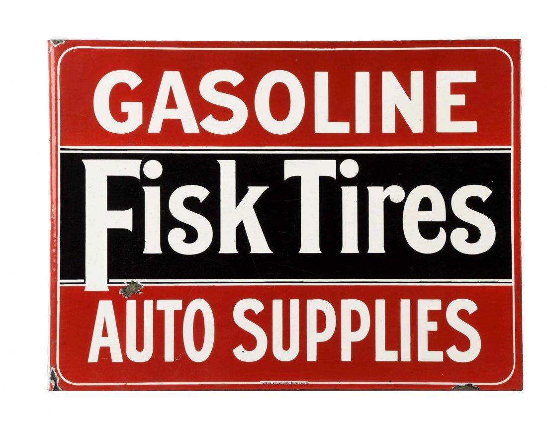 Fisk Tires Porcelain Flange Sign.