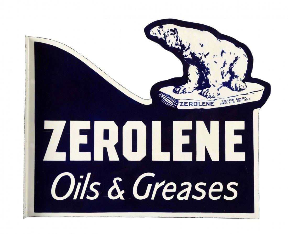 Zerolene w/ Bear Porcelain Flange Sign (restored).