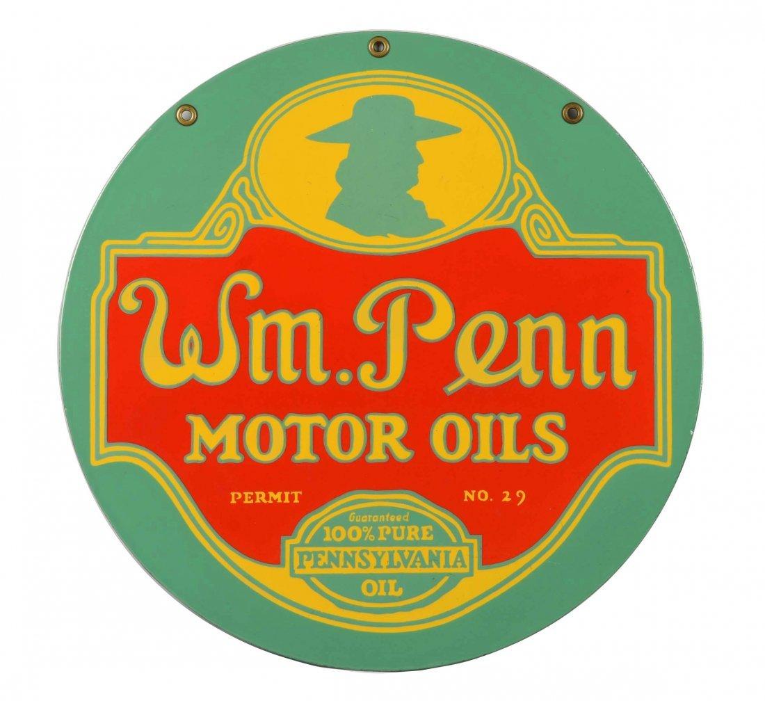 Wm Penn Motor Oil Porcelain Sign, Restored.
