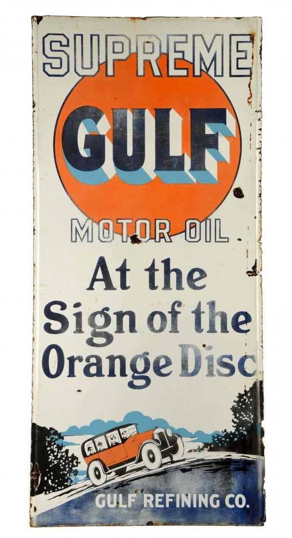 Gulf Supreme Motor Oil w/Car Vertical Porcelain Sign.