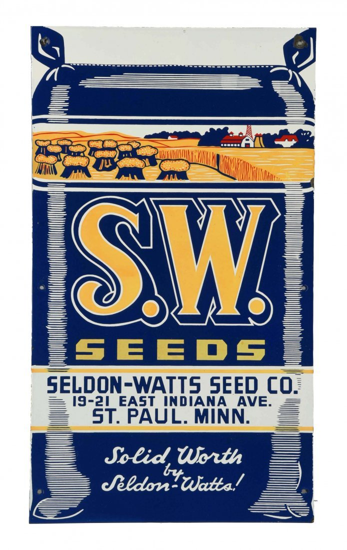 S.W. Seeds w/ Great Farm Scene Porcelain Sign.
