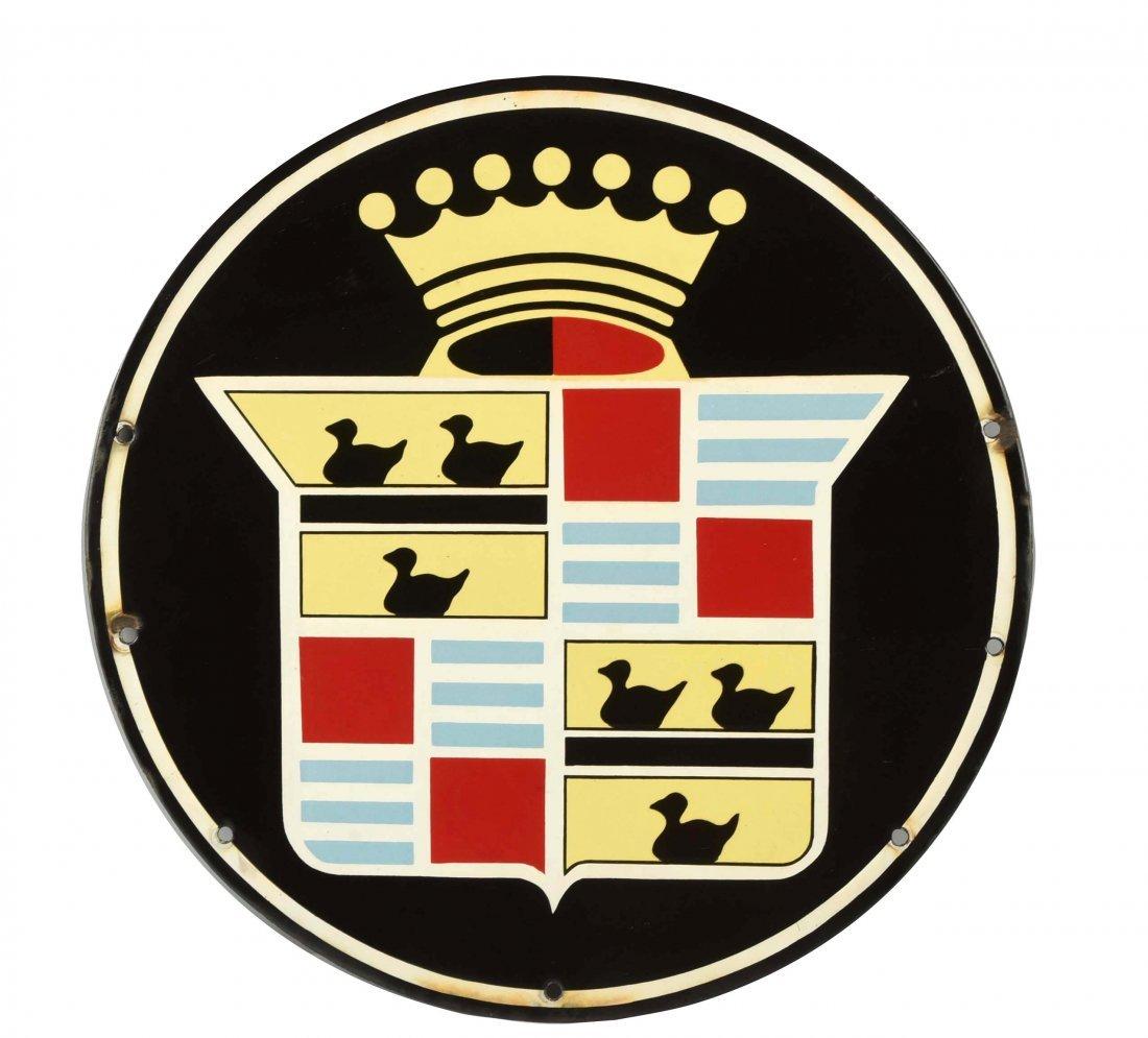 (Cadillac) Crest Logo Porcelain Sign.