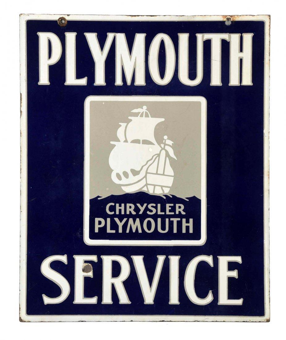 Plymouth Serivce w/ Logo Porcelain Sign.