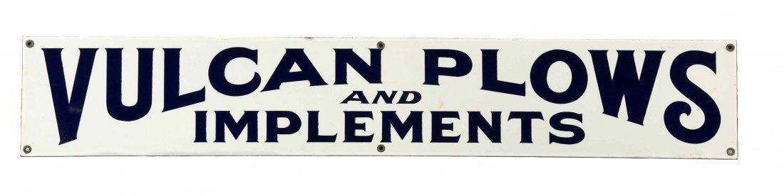 Vulcan Plows & Implements Porcelain Sign.