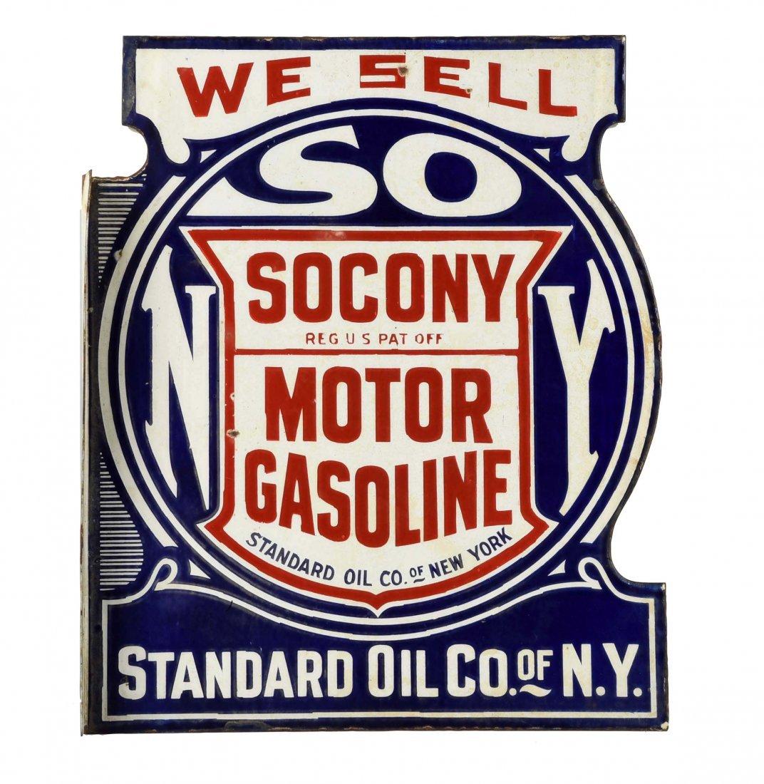 Socony Motor Gasoline Porcelain Diecut Flange Sign
